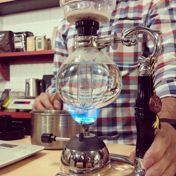 The guys from Ministry made us a cup of coffee using the siphon method. Gotta love some alchemy with your coffee.