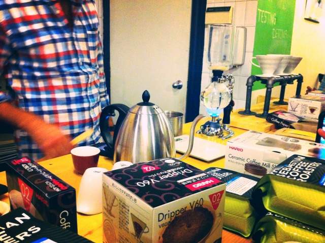 Coffee, brewers and accessories as far as the eye can see. A coffee addict's dream.