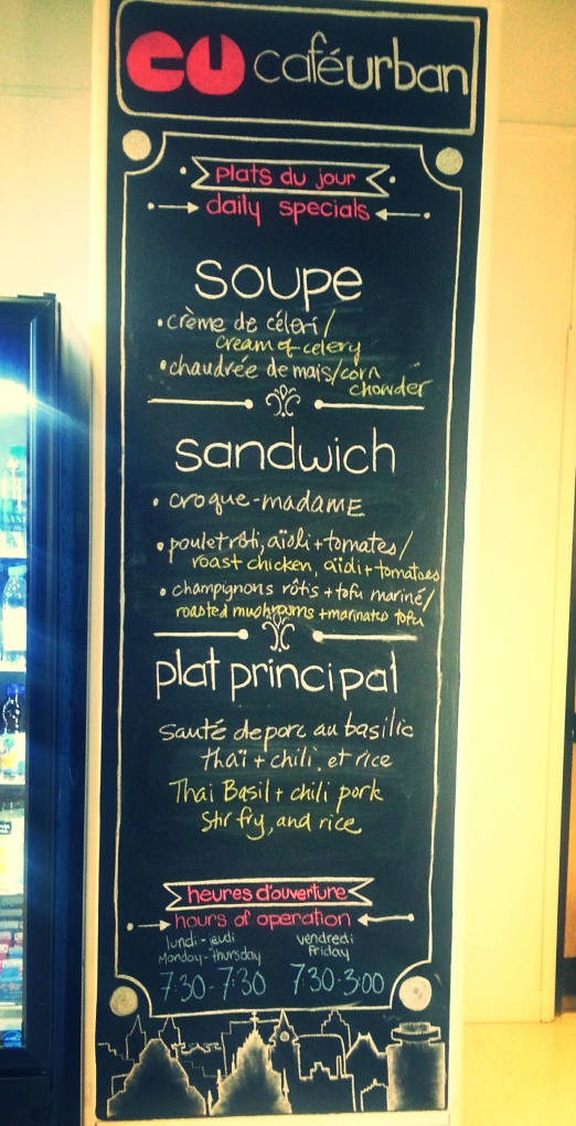 A menu board updated daily!
